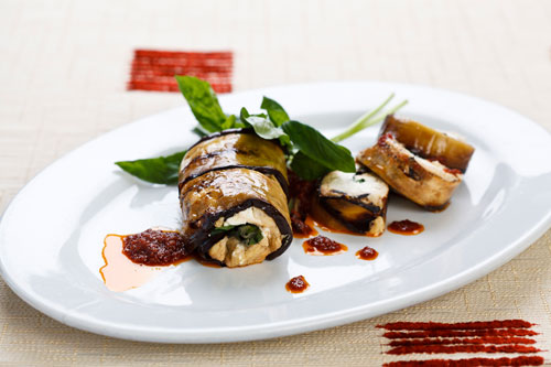 Aubergine roulade with almond and feta recipe
