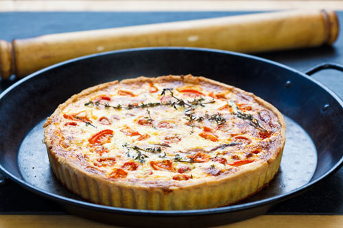 Deep barber's cruncher Cheddar and cherry tomato tart recipe
