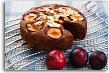 Chocolate plum cake with almonds recipe